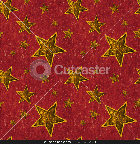 Seamless Gold Stars on Deep Red stock photo, Seamless pattern of shiny gold stars on textured deep red background by SongPixels