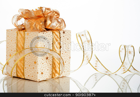 Christmas gift box stock photo, Christmas gift box with decoration on white background by p.studio66