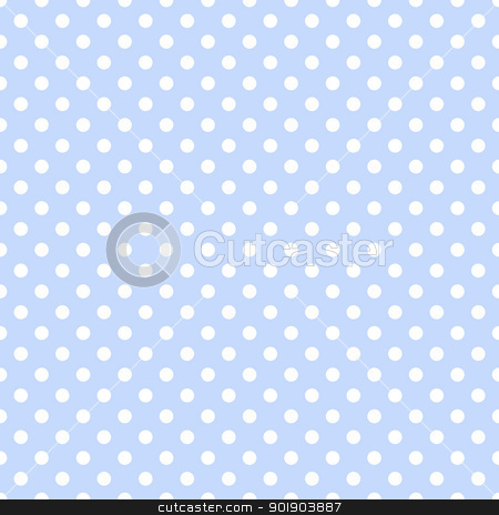 White Polka Dots on Pale Blue stock photo, Seamless white dotted pattern on baby blue background by SongPixels