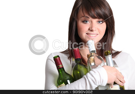 young woman holding empty wine bottles stock photo, young woman holding empty wine bottles by photography33