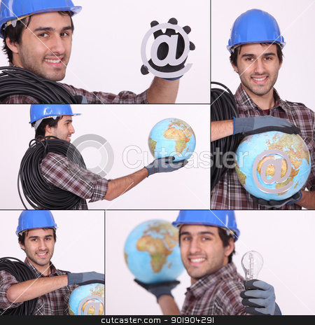 an electrician, a globe and an @ stock photo, an electrician, a globe and an @ by photography33
