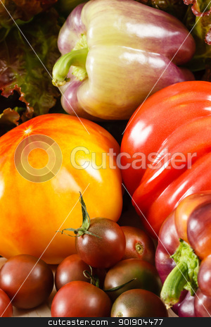 Tomatoes And Peppers stock photo, Fresh heirloom tomatoes with purple peppers and red leaf lettuce by Karen Sarraga