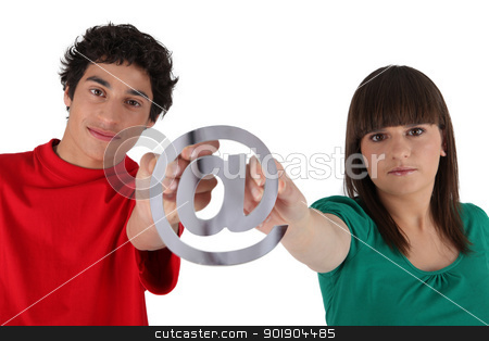 Teens with email symbol stock photo, Teens with email symbol by photography33