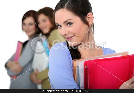 attractive female students holding folders and books stock photo, attractive female students holding folders and books by photography33