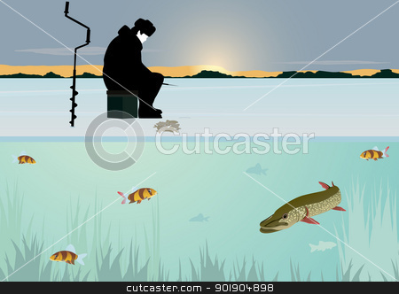 Winter fishing on the lake stock vector clipart, The sun on the horizon of the forest stands over the snow-covered pond. A man catches a fish winter fishing rod in the hole. Swim under the ice fish. by Sergey Skryl