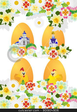 Wildflowers and Easter eggs stock vector clipart, Easter eggs with ornament and wild flowers. The illustration on a white background. by Sergey Skryl