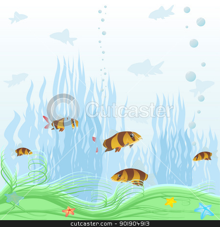 Underwater world stock vector clipart, The illustration on the theme of the underwater world of aquatic plants and underwater creatures. by Sergey Skryl