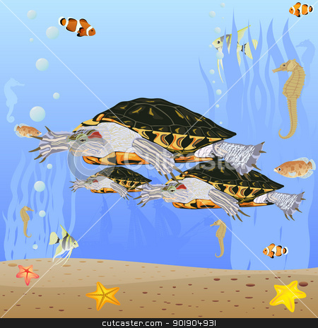 Turtles in the sea stock vector clipart, Marine life. Sea turtles swim in the sea. by Sergey Skryl
