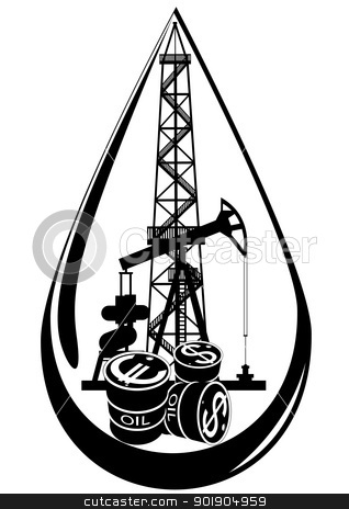The oil business stock vector clipart, Oil and gas industry. Black and white illustration. by Sergey Skryl