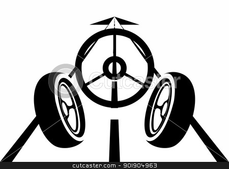 The road and the car stock vector clipart, An abstract image of the car. Black and white illustration. by Sergey Skryl