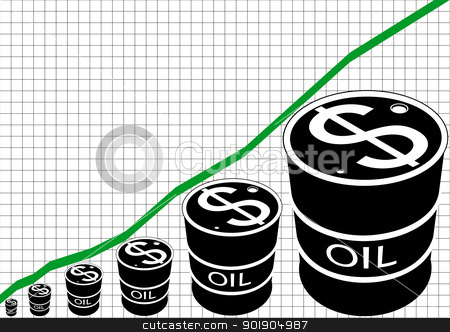 The graph of oil production stock vector clipart, Schedule of sales of petroleum products. Black and white illustration. by Sergey Skryl