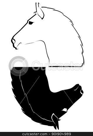 The head of a horse stock vector clipart, Black and white horses head. The illustration on a white background. by Sergey Skryl