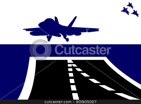 Take off stock vector clipart, The plane takes off from the deck of an aircraft carrier. The illustration on the military theme. by Sergey Skryl
