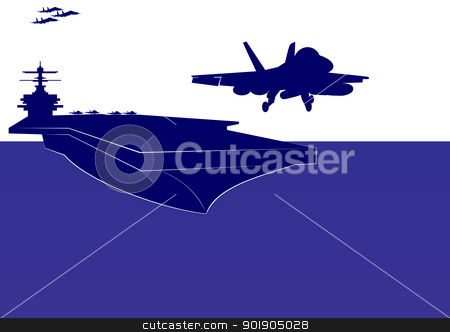 Take-off from an aircraft carrier stock vector clipart, The plane takes off from the deck of an aircraft carrier. The illustration on the military theme. by Sergey Skryl