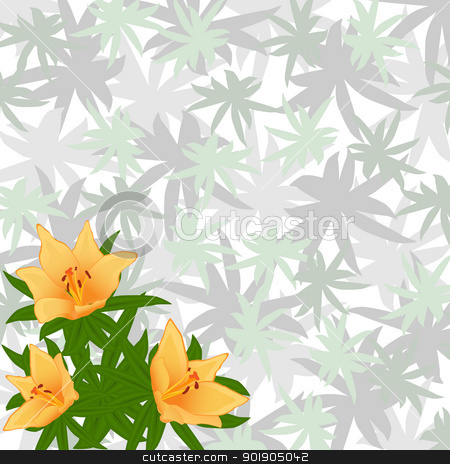 Summer flowers stock vector clipart, Bouquet of flowers on a background of leaves. The illustration on a white background. by Sergey Skryl