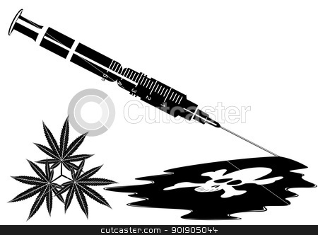 Syringe with the drug stock vector clipart, Medical syringe with narcotic substance. Black and white illustration. by Sergey Skryl