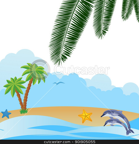 Summer landscape stock vector clipart, Two dolphins in the ocean on a background of clouds and shoreline. by Sergey Skryl