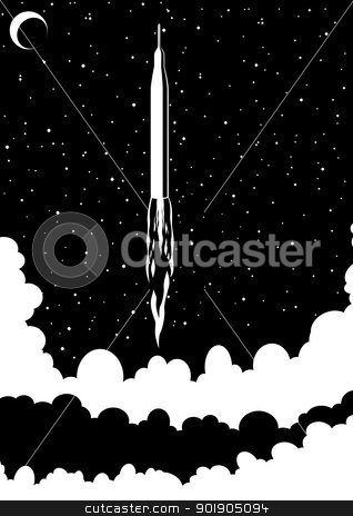 Soaring rocket stock vector clipart, Space rocket launched into space. Black and white illustration by Sergey Skryl