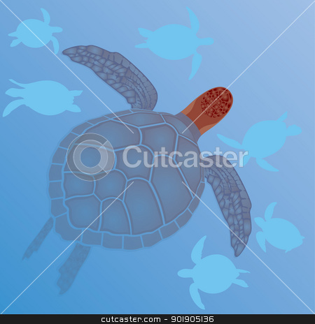 Sea turtles in the water stock vector clipart, Marine life. Sea turtles swim in the sea. Illustration format EPS-10. by Sergey Skryl