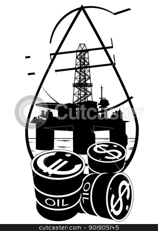 Sales of petroleum products stock vector clipart, Oil and gas industry. Black and white illustration by Sergey Skryl