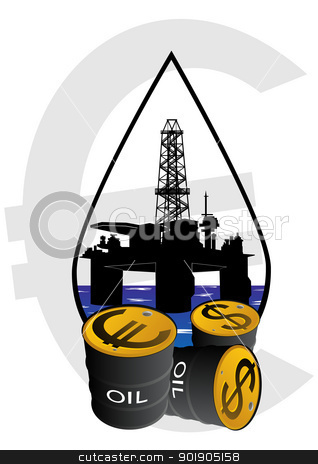 Sale of petroleum products stock vector clipart, Production and sale of minerals. Oil drilling rigs. by Sergey Skryl