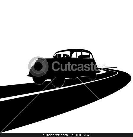 Retro car stock vector clipart, Retro car on the road. Black and white illustration. by Sergey Skryl