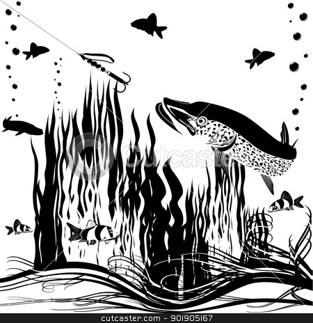 River predator stock vector clipart, Pike fishing gear chasing. Black and white illustration. by Sergey Skryl