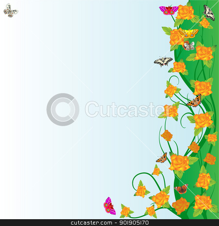 Roses and butterflies stock vector clipart, An abstract floral meadow with roses and butterflies by Sergey Skryl