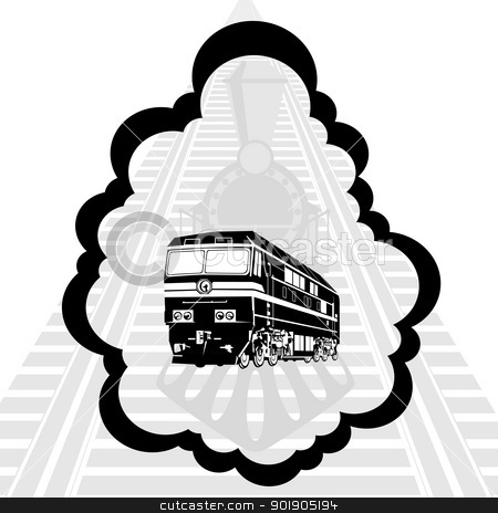 Rail transport stock vector clipart, Modern rail against the backdrop of the railway line. Illustration on white background. by Sergey Skryl
