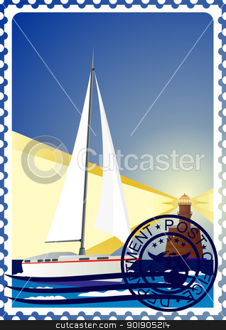 Postage stamp. Yacht at sea and the lighthouse. stock vector clipart, The illustration on a postage stamp. Night. The lighthouse and the yacht at sea. by Sergey Skryl