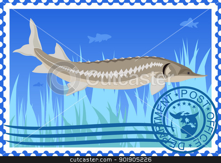 Postage stamp. Sturgeon stock vector clipart, The illustration on a postage stamp. Sturgeon in their natural habitat. by Sergey Skryl