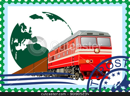 Postage stamp. Rail freight stock vector clipart, The illustration on a postage stamp. Transportation of goods by rail. by Sergey Skryl