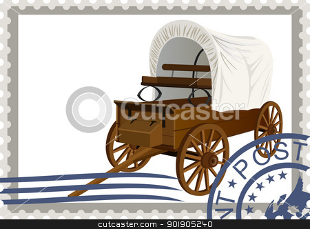 Postage stamp. Covered wagon stock vector clipart, The illustration on a postage stamp. An old covered wagon by Sergey Skryl