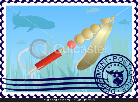 Postage stamp. Fishing tackle stock vector clipart, The illustration on a postage stamp. Fishing tackle. Lure fishing for pike. by Sergey Skryl