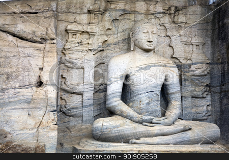 Seated Buddha at Polonnaruwa stock photo, The statues of the Lord Buddha in Gal Vihara at Polonnaruwa are cut from a single granite wall in 12th century A.D.  The photograph here depicts the seated Buddha meditating and was commisioned by Parakramabahu.  Polonnaruwa is a UNESCO World Heritage site. by Abdul Sami Haqqani