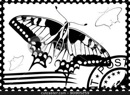 Postage stamp from Swallowtail stock vector clipart, Postage stamp with a picture of a butterfly stamp and mail. Black and white illustration. by Sergey Skryl