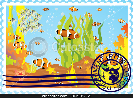 Postage stamp with the underwater world stock vector clipart, The illustration on a postage stamp. The underwater world. by Sergey Skryl