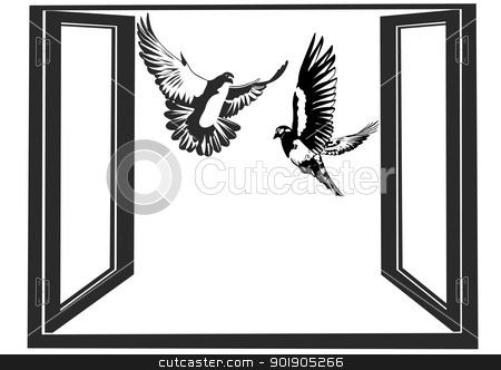 Pigeons stock vector clipart, White doves flying against the backdrop of an open window. Black and white illustration. by Sergey Skryl