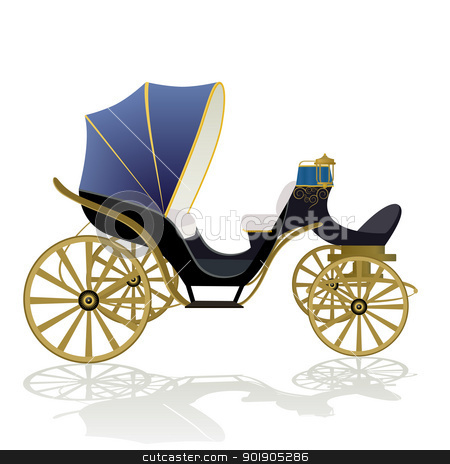 Phaeton stock vector clipart, Antique vehicle. The illustration on a white background. by Sergey Skryl