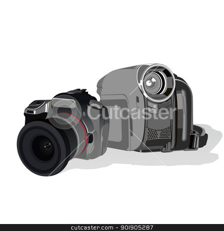 Photo and video equipment stock vector clipart, Modern SLR camera and camcorder. The illustration on a white background. by Sergey Skryl