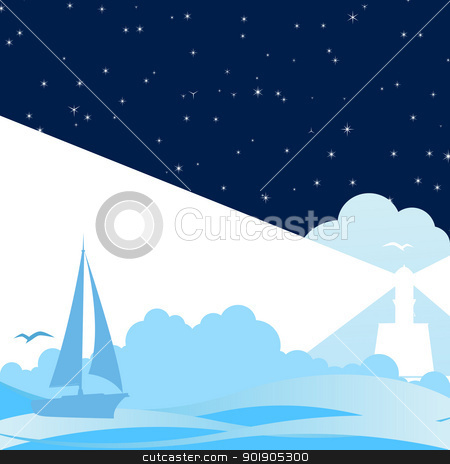 Night at Sea stock vector clipart, Sailing ship in the night the sea and the lighthouse. by Sergey Skryl