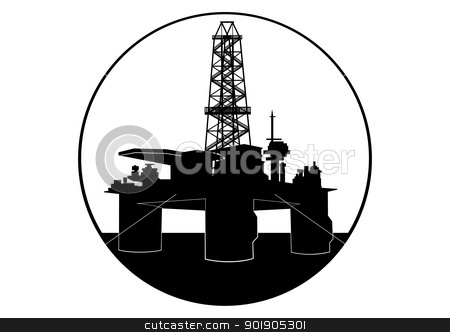 Oil drilling rig stock vector clipart, Oil industry. Black and white illustration by Sergey Skryl