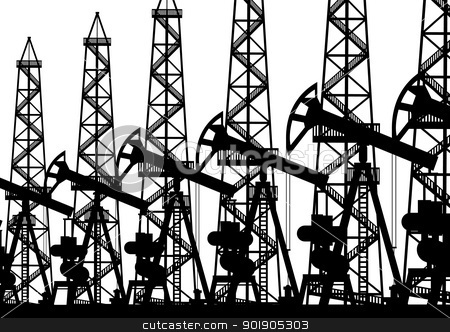Oil industry stock vector clipart, Oil industry. Black and white illustration. by Sergey Skryl