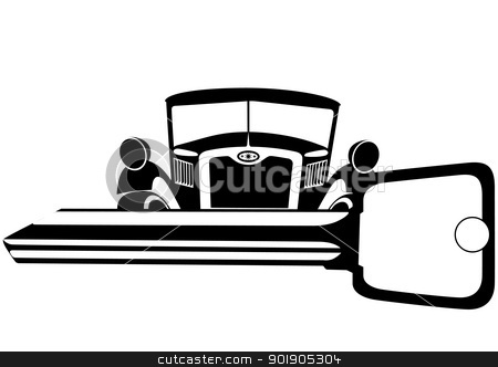 Old car and key stock vector clipart, The old car and the ignition key. Black and white illustration. by Sergey Skryl