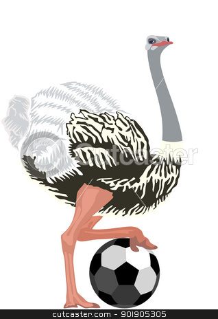 Ostrich with a soccer ball stock vector clipart, Ostrich with a soccer ball. The illustration on a white background. by Sergey Skryl