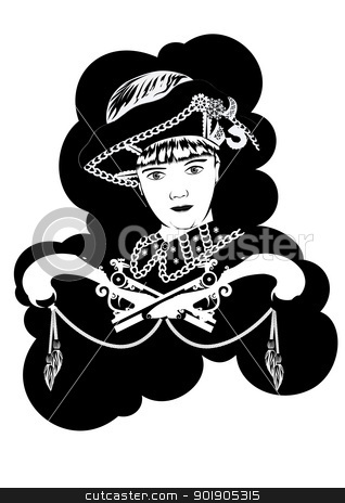 Musketeer stock vector clipart, A young man in a suit Musketeers. Black and white illustration. by Sergey Skryl