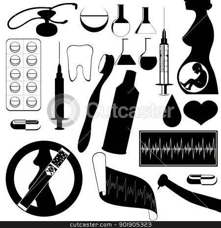 Medicine stock vector clipart, The contour of objects on the topic of medicine. Black and white illustration. by Sergey Skryl