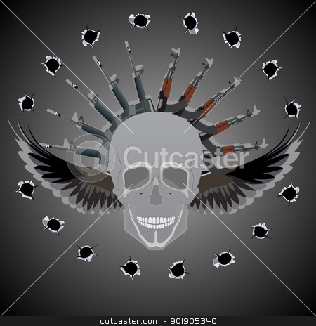 Lethal Weapon stock vector clipart, Human skull with wings on the background of abstract automatic weapons and bullet holes. by Sergey Skryl