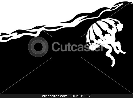 Jellyfish in the sea stock vector clipart, Jellyfish in the sea. Black and white illustration. by Sergey Skryl