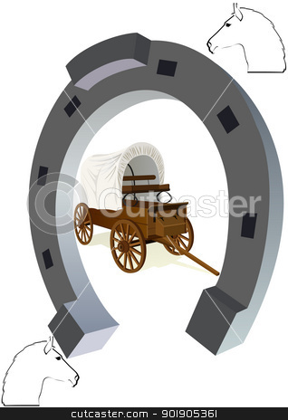 Horseshoe and a covered wagon stock vector clipart, An old covered wagon inside the horseshoe. The illustration on a white background. by Sergey Skryl